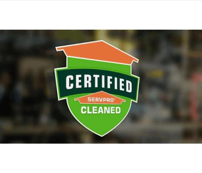 Certified: SERVPRO Cleaned window emblem